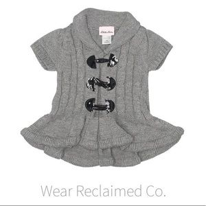 LITTLE LASS Grey Knit Cardigan Toggle Closure - 4T
